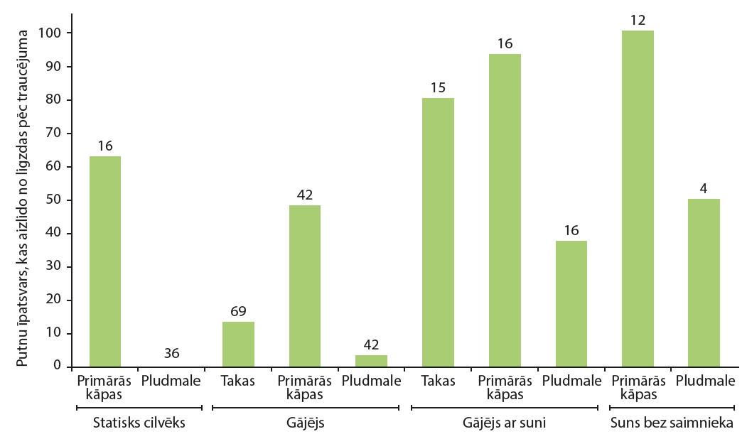 1. ATTĒLS. No ligzdas aizlidojušo putnu īpatsvars atkarībā no traucējuma veida un vietas. Katrai kombinācijai dots relatīvais daudzums ligzdu, kuras putni īslaicīgi pameta pēc traucējuma, kā arī absolūtais šādu gadījumu skaits (Gómez-Serrano, 2020). FIGURE 1. Percentage of birds that flushed when disturbed according to the location and type of beach user. For each combination, the percentage of nests in which the incubating bird flushed is shown. Sample sizes are given above each bar (Gómez-Serrano, 2020).